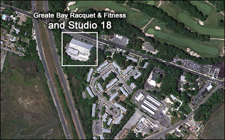 Directions to Studio 18, inside of Greate Bay Racquet and Fitness